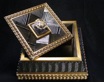 REDUCED Handmade Black/Gold Zig Zag Jewelry Box made from high quality picture frames