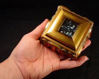 Handmade Small Gold Jewelry Box w Window