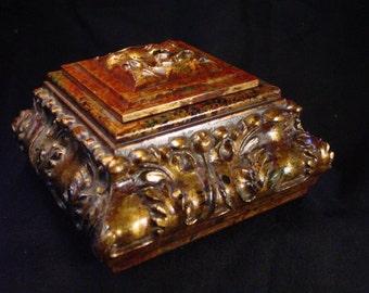 Handmade Ornate Olive/Gold Single Jewelry Box