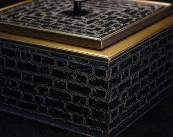 Reduced Handmade Single Layer Jewelry Box w Brick Motif