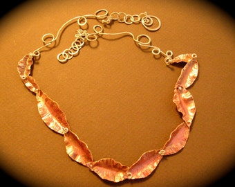 Copper Leaf and Vine Necklace, with beautiful Torch Fired Patina