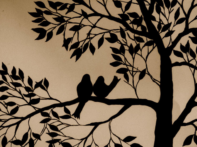 Painting Birds & Tree Silhouette