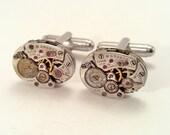 Steampunk Jewelry Cufflinks Vintage Watch Movements ( Steampunk Jewelry by Steam Designs)