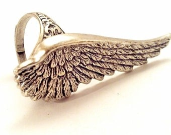 Angel Wing Ring, Silver, Adjustable Size