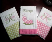 Personalized Baby Burp Cloth Set of 3...Perfect for a Girl Baby Shower