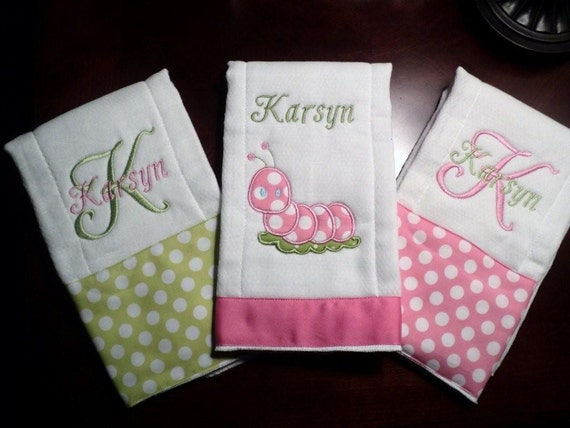 Items similar to Personalized Baby Burp Cloth Set of 3
