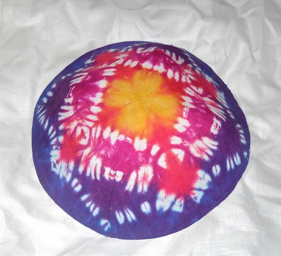 "Tie Dyed Cotton Fabric Kippah, Purple, Red, Magenta,Yellow in Geometric pattern., Lined, 7 1/2"" diameter."