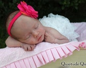 Pink Paisley Ruffle Baby Blanket Newborn Photography Prop - Ruffle Quilt with Pillow for baby girl