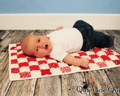 Checkers Patchwork Miniature Baby Quilt - Red and White Photo Prop Blanket and Pillow Set