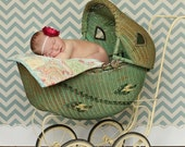 Shabby Chic Quilt Prop - Sky Blue and Sage Green Newborn Prop Baby Quilt and Pillow