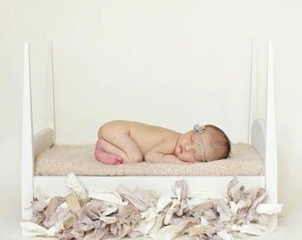 White Four Poster Baby Bed Photo Prop - Pencil Post Bed Organic Painted with white mattress