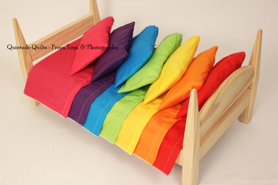 One Sheet, Pillow, and Pillowcase Set -  Custom Color Brights Sheet Set, for 18 inch doll