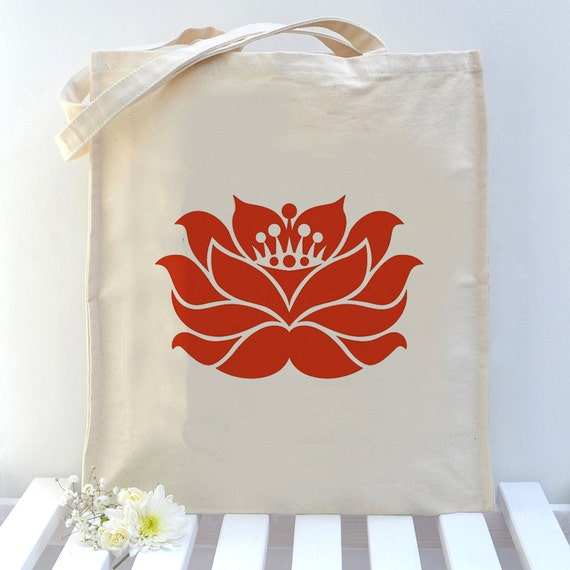 Yoga Lotus Flower Canvas Tote Bag