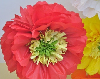 POPPY LOVE. 5 Giant Paper Flowers, party decorations, baby bridal shower decoration, birthday party, nursery