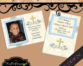 INSTANT DOWNLOAD  First Communion Gavin Vertical/ Horizontal  5x7 Announcement/Invitation Template/PSD file