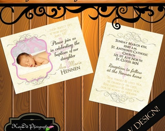 INSTANT DOWNLOAD Baptism Pink Vertical/ Horizontal  5x7 Announcement/Invitation Template/PSD file