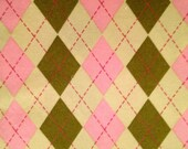 Contemporary Argyle print cotton fabric pink and olive