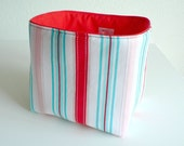 Reversible Fabric Basket - Stripes in Red, Blue and White