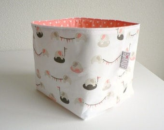 Organic Fabric Basket - Tiny Elephants and Dots in Pink, Gray and Brown