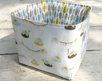 Organic Fabric Basket - Tiny Elephants and Leaves in Blue, Gray and Yellow