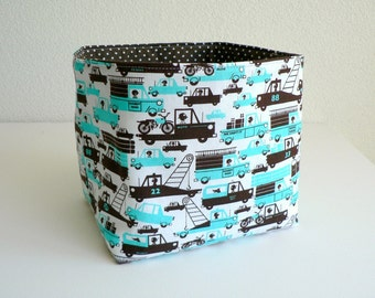 Fabric Basket - Cars and Trucks in Aqua and Chocolate on White