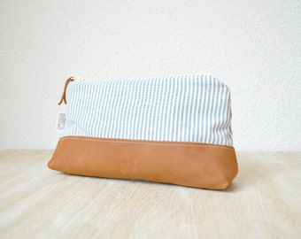 Zipper Pouch - Striped Cotton and Leather