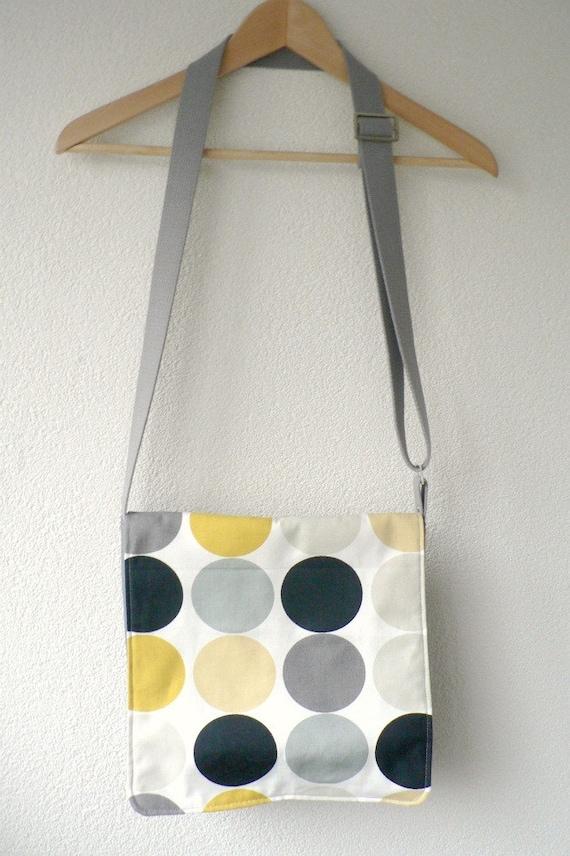Messenger Bag - Mustard, Grey and Black Circles