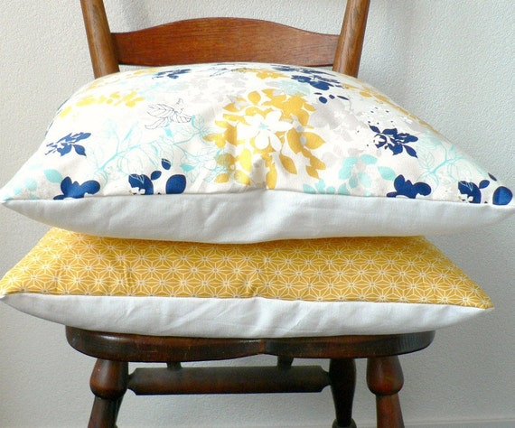 Throw Pillow Cover - Floral in Navy, Marigold, Light Blue on Natural