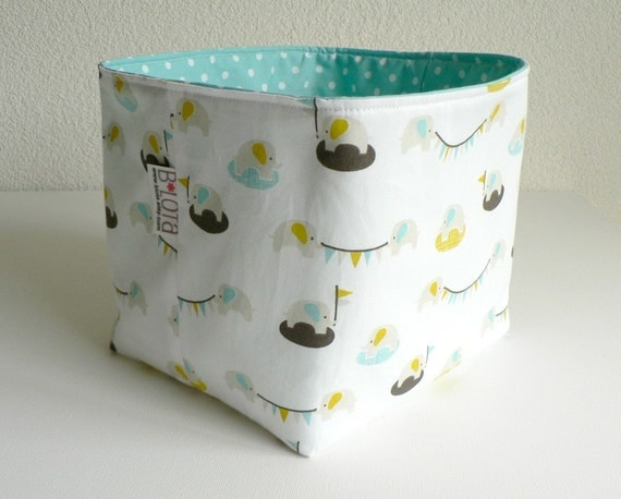 Organic Fabric Basket - Tiny Elephants and Dots in Blue, Gray and Yellow