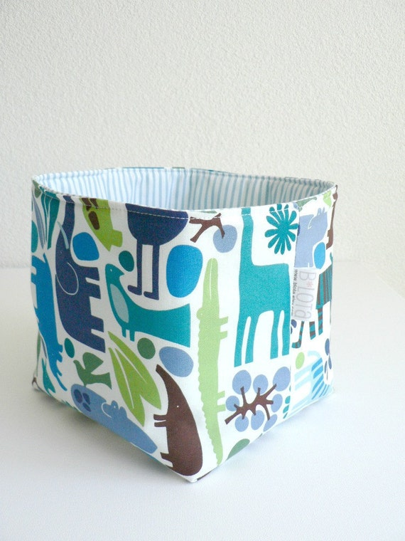 Fabric Basket - Zoo Pool in Blue, Green and Brown on White - LAST ONE