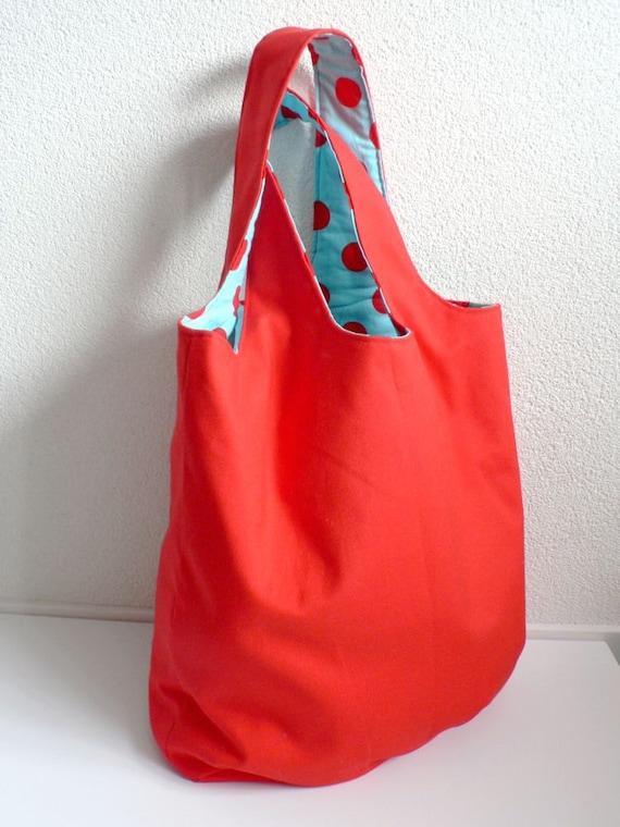RESERVED LISTING - Large Shoulder/Diaper Bag - Engine Red & Polka Dots