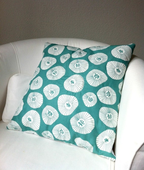 Throw Pillow Cover - White Poppies on Teal