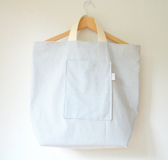 Shabby Beach/Everyday Tote Bag - Navy Blue Stripes on Natural