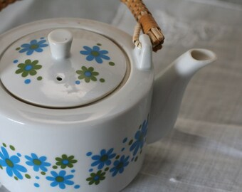Vintage Retro Mod Flowered Teapot