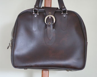 American Tourister Brown Faux Leather Carry On Bag