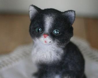 vintage flocked kitty