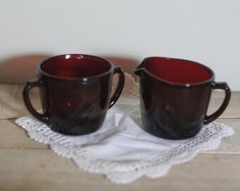 vintage ruby red creamer and sugar
