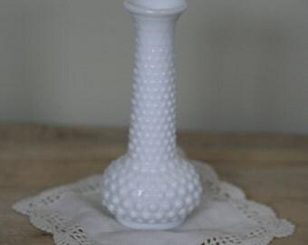 vintage milkglass hob nail bud vase