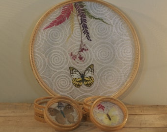 vintage butterfly tray with matching coasters