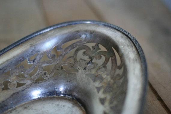 vintage tarnished silver dish