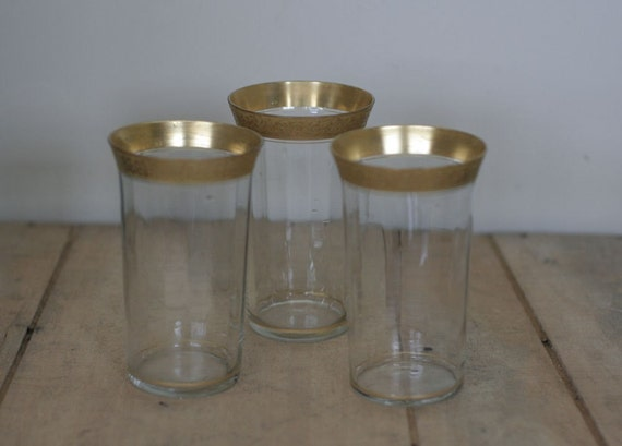 vintage tiffin gold rimmed tumblers