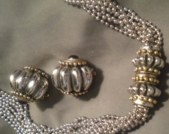 Vintage Multi-strand ball chain necklace and earring set