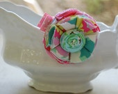 Pink Fabric Flower Clip--Sydney Collection--featuring Amy Butler fabric