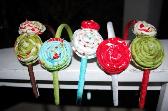Stocking Stuffers--Collection of Five Holiday Rosette Headbands
