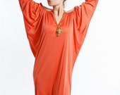 Vintage 70s GRECIAN Maxi Dress - Tangerine and Gold - BILL TICE for Saks Fifth Avenue