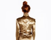 Vintage 70s GOLD VELOUR Space Age Bodysuit / DEADSTOCK