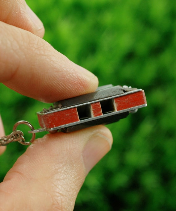 Vintage 50s MINI HARMONICA Necklace from Japan - Layering Necklace