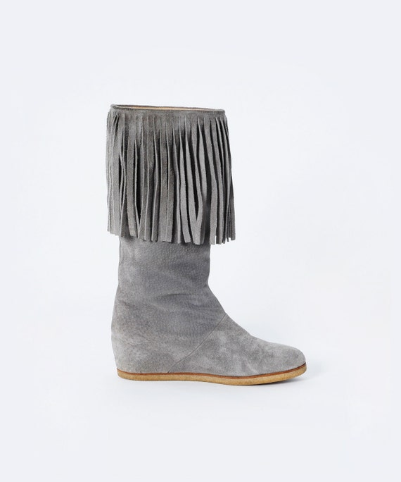 vintage 70s gray fringe suede wedge boots size by