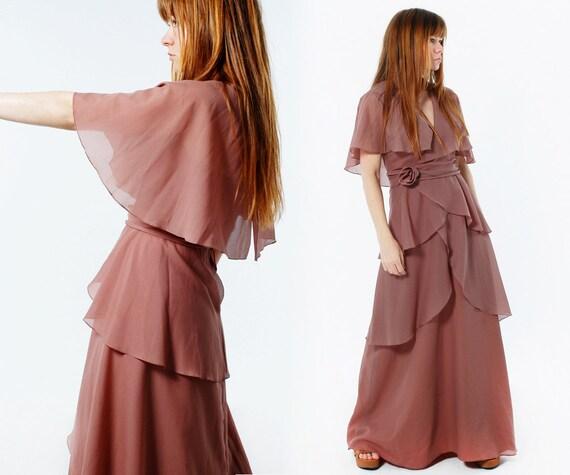Chiffon MAXI DRESS - Special Occasion Halter Dress - Size S - Sheer Shawl - Tiered Mocha Dress - Vintage 60s