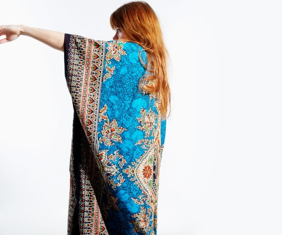 ON HOLD Vintage 70s Caftan Dashiki Blue ETHNIC Maxi Dress